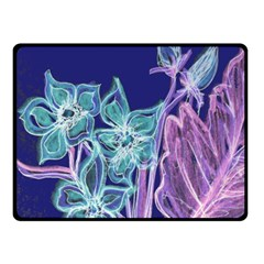 Purple, Pink Aqua Flower Style Double Sided Fleece Blanket (small)  by Contest1918526