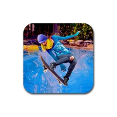 Skateboarding On Water Rubber Square Coaster (4 Pack)  by icarusismartdesigns