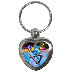 Skateboarding On Water Key Chains (heart)  by icarusismartdesigns