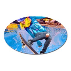 Skateboarding On Water Oval Magnet by icarusismartdesigns