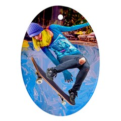 Skateboarding On Water Oval Ornament (two Sides) by icarusismartdesigns