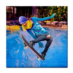 Skateboarding On Water Face Towel by icarusismartdesigns