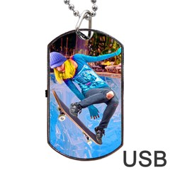 Skateboarding On Water Dog Tag Usb Flash (one Side) by icarusismartdesigns