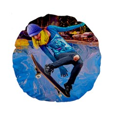 Skateboarding On Water Standard 15  Premium Round Cushions by icarusismartdesigns