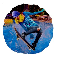 Skateboarding On Water Large 18  Premium Round Cushions by icarusismartdesigns