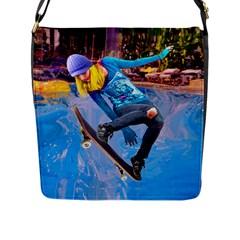 Skateboarding On Water Flap Messenger Bag (l)  by icarusismartdesigns