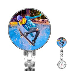 Skateboarding On Water Stainless Steel Nurses Watches by icarusismartdesigns