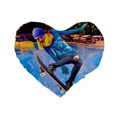Skateboarding On Water Standard 16  Premium Flano Heart Shape Cushions by icarusismartdesigns