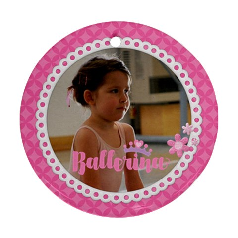 Ballerina   Dancer Ornament 1 Side By Mikki   Ornament (round)   Pzjn4skrlg7a   Www Artscow Com Front