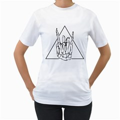 Skull Rock Women s T Shirt (white) (two Sided)