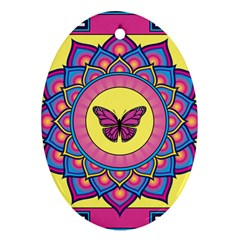 Butterfly Mandala Ornament (oval)  by GalacticMantra