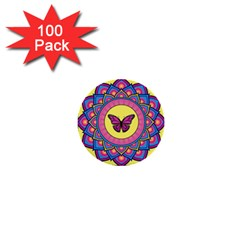 Butterfly Mandala 1  Mini Buttons (100 Pack)  by GalacticMantra