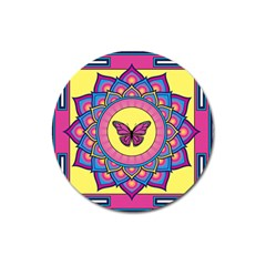 Butterfly Mandala Magnet 3  (round) by GalacticMantra