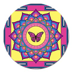 Butterfly Mandala Magnet 5  (round) by GalacticMantra