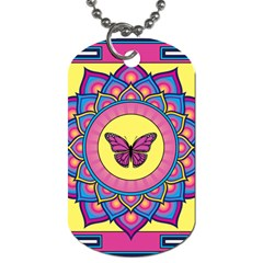 Butterfly Mandala Dog Tag (two Sides) by GalacticMantra