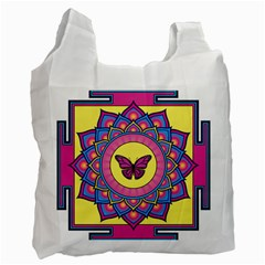 Butterfly Mandala Recycle Bag (one Side) by GalacticMantra