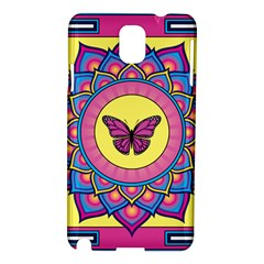 Butterfly Mandala Samsung Galaxy Note 3 N9005 Hardshell Case by GalacticMantra