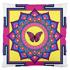 Butterfly Mandala Large Flano Cushion Cases (two Sides)  by GalacticMantra