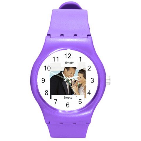 Wedding By Wedding   Round Plastic Sport Watch (m)   Yjgex4alxi18   Www Artscow Com Front