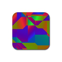 Colorful Gradient Shapes Rubber Square Coaster (4 Pack) by LalyLauraFLM