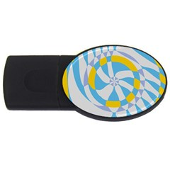 Abstract Flower In Concentric Circles Usb Flash Drive Oval (2 Gb) by LalyLauraFLM