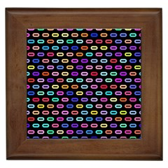 Colorful Round Corner Rectangles Pattern Framed Tile by LalyLauraFLM