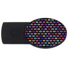 Colorful Round Corner Rectangles Pattern Usb Flash Drive Oval (2 Gb) by LalyLauraFLM