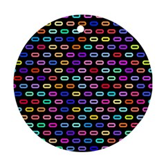 Colorful Round Corner Rectangles Pattern Round Ornament (two Sides) by LalyLauraFLM
