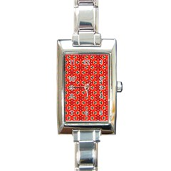 Lovely Orange Trendy Pattern  Rectangle Italian Charm Watches by creativemom