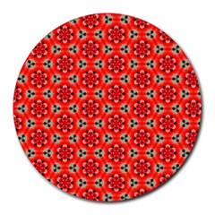 Lovely Orange Trendy Pattern  Round Mousepads by creativemom