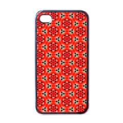 Lovely Orange Trendy Pattern  Apple Iphone 4 Case (black) by creativemom