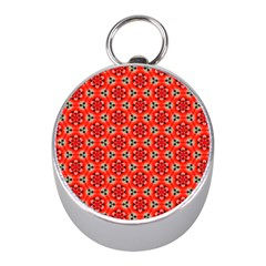 Lovely Orange Trendy Pattern  Mini Silver Compasses