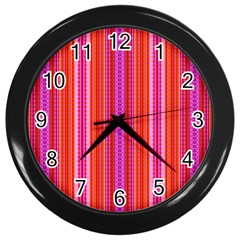 Orange Tribal Aztec Pattern Wall Clocks (black) by creativemom