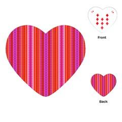 Orange Tribal Aztec Pattern Playing Cards (heart)