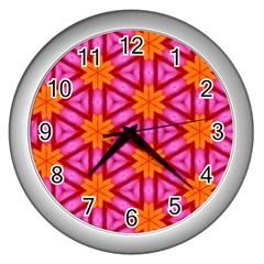 Cute Pretty Elegant Pattern Wall Clocks (silver)  by creativemom