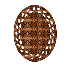 Faux Animal Print Pattern Oval Filigree Ornament (2-Side)
