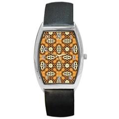Faux Animal Print Pattern Barrel Metal Watches