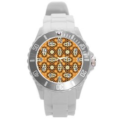 Faux Animal Print Pattern Round Plastic Sport Watch (l)