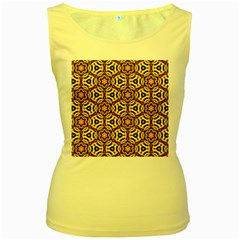 Faux Animal Print Pattern Women s Yellow Tank Tops by creativemom