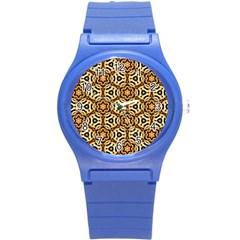 Faux Animal Print Pattern Round Plastic Sport Watch (s) by creativemom