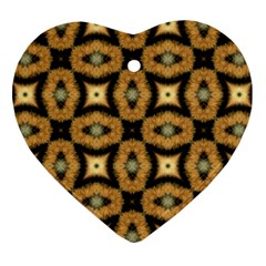 Faux Animal Print Pattern Heart Ornament (2 Sides) by creativemom