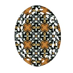 Faux Animal Print Pattern Oval Filigree Ornament (2-Side)  by creativemom