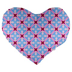 Cute Pretty Elegant Pattern Large 19  Premium Flano Heart Shape Cushions by creativemom