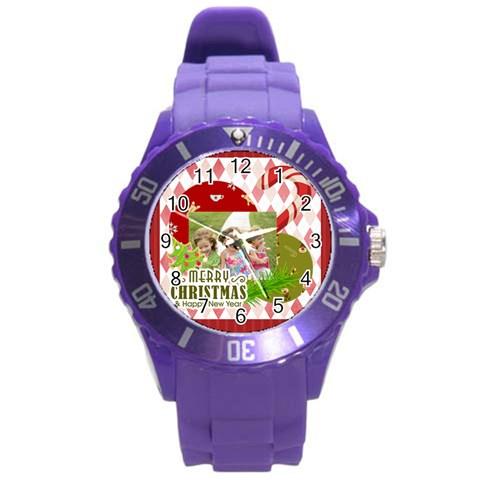 Xmas By Xmas   Round Plastic Sport Watch (l)   Cvzeqwa2lkhn   Www Artscow Com Front