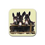 Three donks Rubber Square Coaster (4 pack)