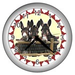 Three donks Wall Clock (Silver)