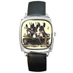 Three donks Square Metal Watch