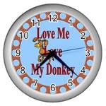 Love my donkey Wall Clock (Silver)