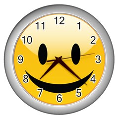 Smiley Face Wall Clocks (silver)  by gddesigns2015