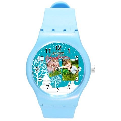 Xmas By Xmas   Round Plastic Sport Watch (m)   Rknmgm619sri   Www Artscow Com Front